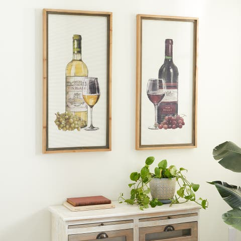 Brown Wood Farmhouse Framed Wall Art Wine & Champagne (Set of 2) - 20 x 2 x 40