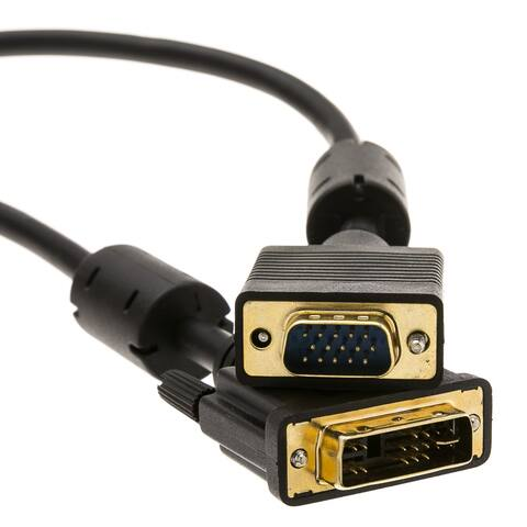 Offex DVI-A to VGA Cable (Analog), Black, DVI-A Male to HD15 Male, 3 meter (10 foot)