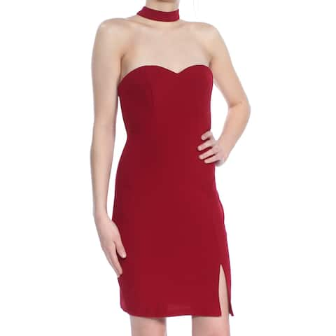 SEQUIN HEARTS Womens Red Sleeveless Sweetheart Neckline Above The Knee Body Con Cocktail Dress Juniors Size: 1