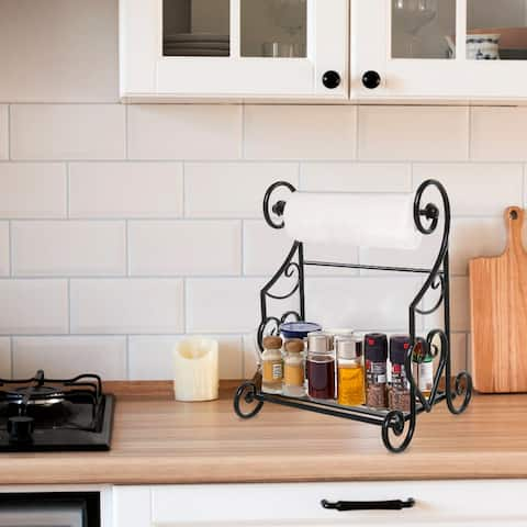 Kitchen Countertop Towel Holder Stand with Spice/Condiment Shelf Rack