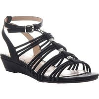 Madeline Women's Sound Ankle Strap Wedge Sandal Black Synthetic