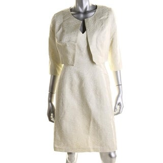 B Michael Womens Jacquard V-Neck Dress With Jacket - 4