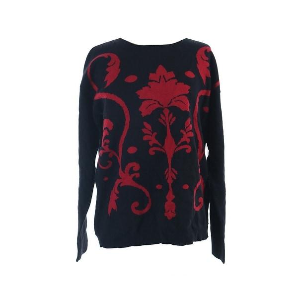 Kensie Black Red Long-Sleeve Damask-Knit Sweater M