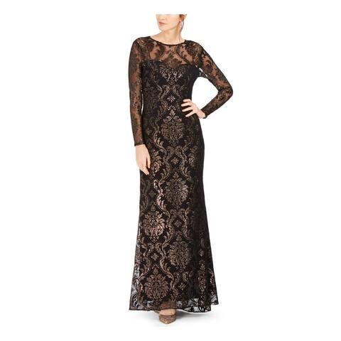 ADRIANNA PAPELL Black Long Sleeve Full-Length Dress 4