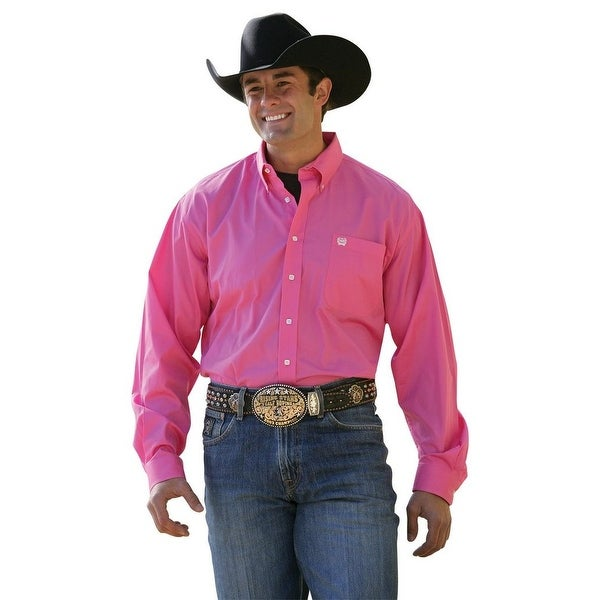 e9c310c98c9 Shop Cinch Western Shirt Men Long Sleeve Solid Pinpoint Hot Pink - Free  Shipping Today - Overstock - 15406494