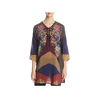Johnny Was Womens Ludios Tunic Top Patchwork Floral Print