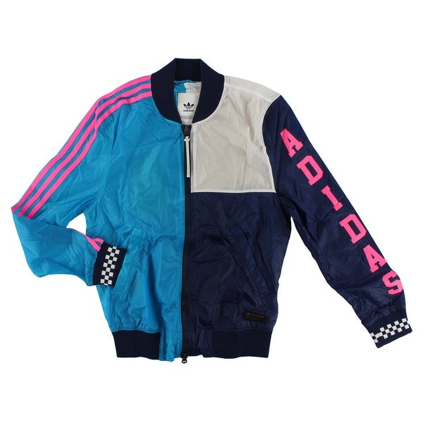 7c6903b8ba83c Adidas Womens Racing Long Sleeve Jacket Collegiate Navy - Collegiate Navy  White Hot Pink