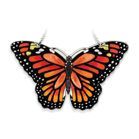 "Orange and Black Monarch Butterfly Handcrafted Glass Wall Art Decor 8"" x 6.5"""
