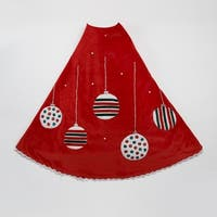 """Pack of 1 Red with Decorative Ornaments Christmas Tree Skirt 48"""""""