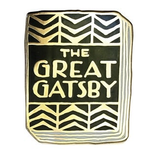 """Floriana Book-Lover Lapel Pin - The Great Gatsby Enameled Book Cover - 1"""""""