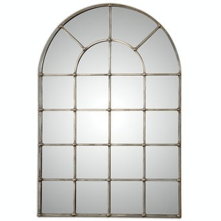 """44.125"""" Hartwell Arched Wall Mirror with Oxidized Silver Hand-Forged Metal Frame - N/A"""
