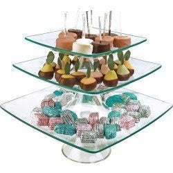 "Palais Glassware® Elegent Glass Cupcake or Cake Stand - Party Centerpiece (8"" - 10"" - 12"" - 3 Tier, Square)"