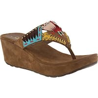 Azura Women's Headress Thong Sandal Taupe Leather/Suede