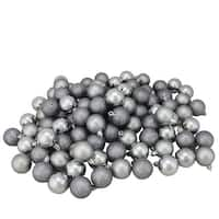 "96ct Pewter Gray Shatterproof 4-Finish Christmas Ball Ornaments 1.5"" (40mm)"
