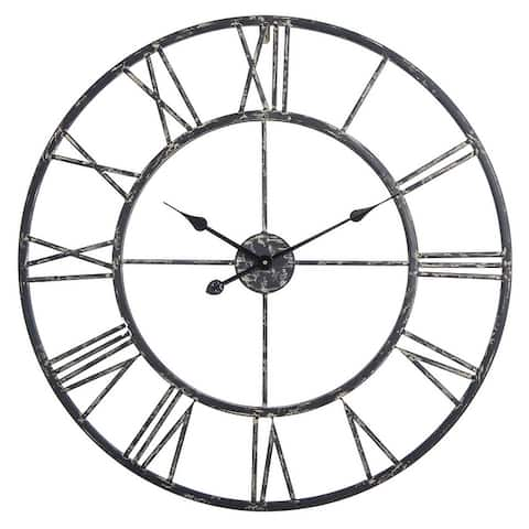 The Gray Barn Roman Round Wall Clock with Distressed Finish