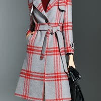 Red Long Sleeve Lapel Wool Checkered/Plaid Coat