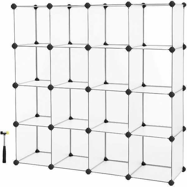 16 Cube Storage, Plastic Cube Organizer Units, DIY Modular Closet Cabinet, Bookcase Included Anti-Toppling Fittings