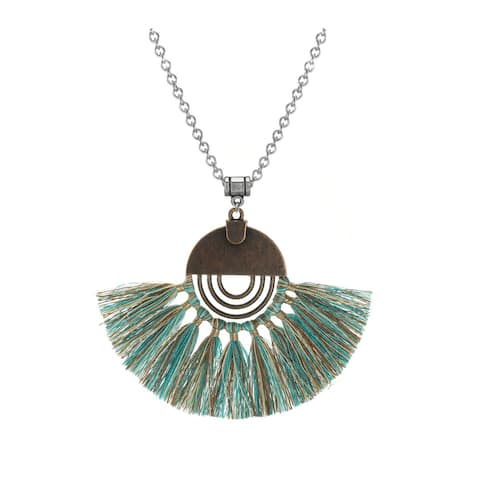 Assorted Colors Boho Copper Tassel Pendant Stainless Steel Chain Necklace