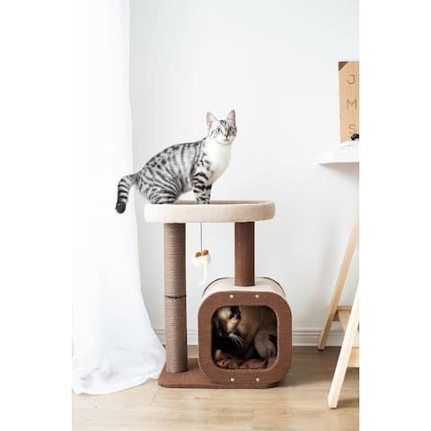 Catry, Cat Tree Condo with Paper Rope Covered Scratching Post