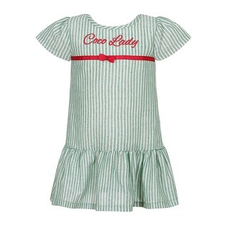 Richie House Girls' Striped Dress with Little Bow