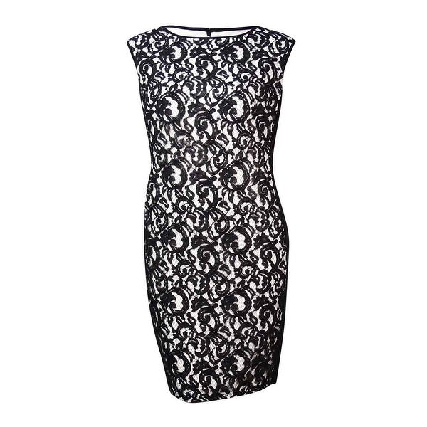 1b373eda Shop Lauren Ralph Lauren Women's Jersey-Sides Lace Sheath Dress -  BLACK/WHITE - Free Shipping Today - Overstock - 15017179