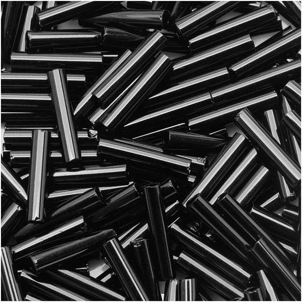Toho Bugle Tube Beads Size 3 2x9mm Opaque Jet 10 Grams