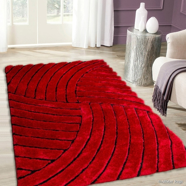 Allstar Red Shaggy Area Rug with 3D Design with Black Lines. Contemporary Formal Casual Hand Tufted (5' x 7')