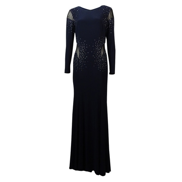304a90364cf0 Shop Xscape Women's Beaded Mesh Inset Full Length Dress - Navy - 8 - Free  Shipping Today - Overstock - 14815541
