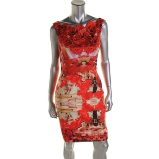Single Womens Printed Sleeveless Wear to Work Dress - 6