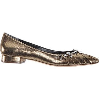 Nina Women's Zenida Flat Antique Gold Metallic Suede