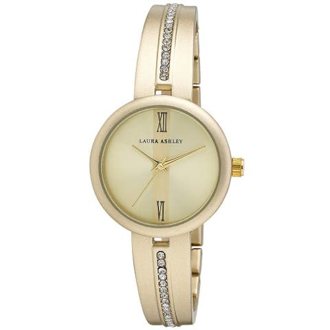 Laura Ashley Womens Half Bangle Roman Numeral Crystal Link Watch- 4 Colors Available