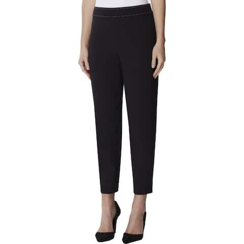 Tahari ASL Womens Dress Pants Crepe Contrast Trim - Black - 4