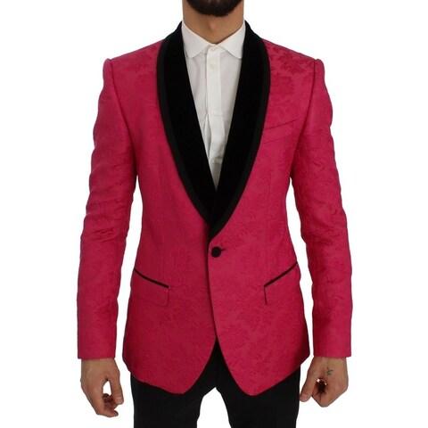 Dolce & Gabbana Dolce & Gabbana Pink Floral Brocade Slim Blazer Jacket