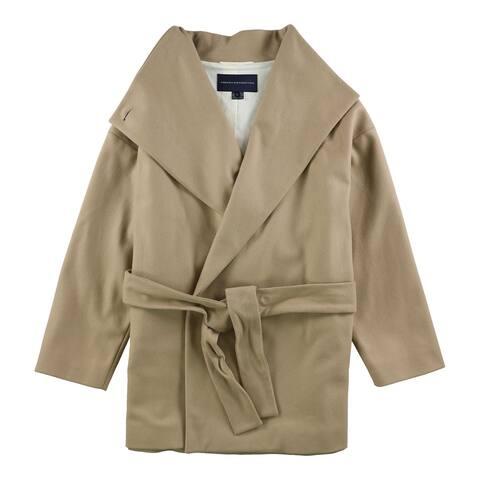 French Connection Womens Felt Coat, beige, Large