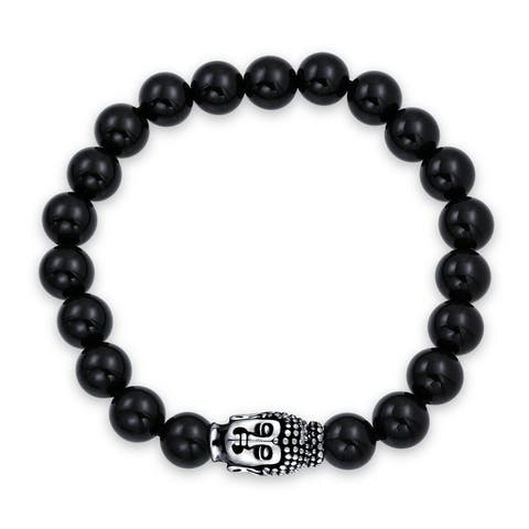 Spiritual Bali Style Fashion Black Onyx Round Bead Strand Buddha Stretch Bracelet For Women For Men Silver Plated Brass