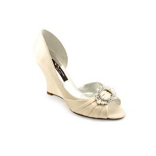 Nina Ellyna Women Open Toe Canvas Ivory Wedge Heel