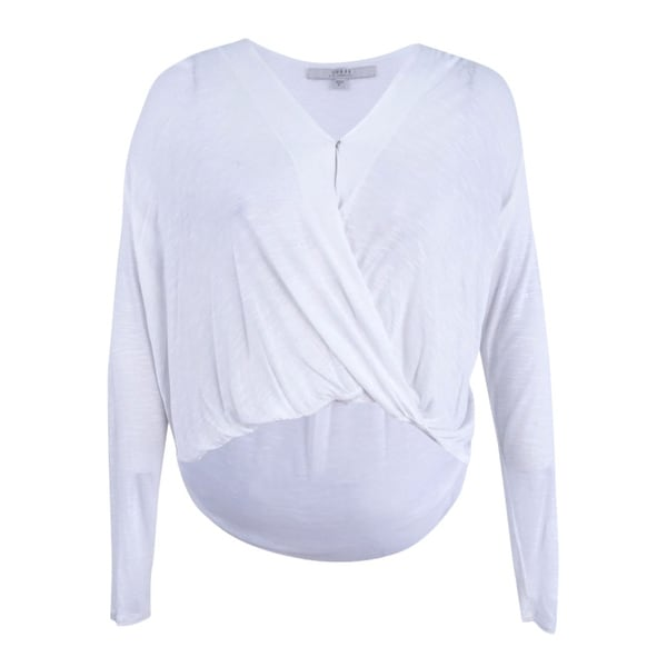 283b8191eacb15 Shop Guess Women's Long-Sleeve Faux-Wrap Top (XL, True White) - True White  - XL - Free Shipping On Orders Over $45 - Overstock - 22989560