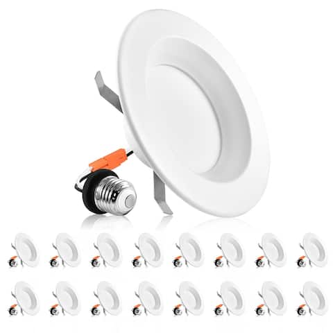Luxrite 4 Inch Dimmable LED Recessed Lights, 10W, 670 Lumens, Retrofit LED Can Lights 60W,ETL & Damp Rated (16 Pack)