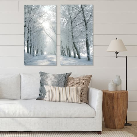 Designart 'Winter Road Backlit my Morning Sun' Forest Canvas Wall Art Print 2 Piece Set