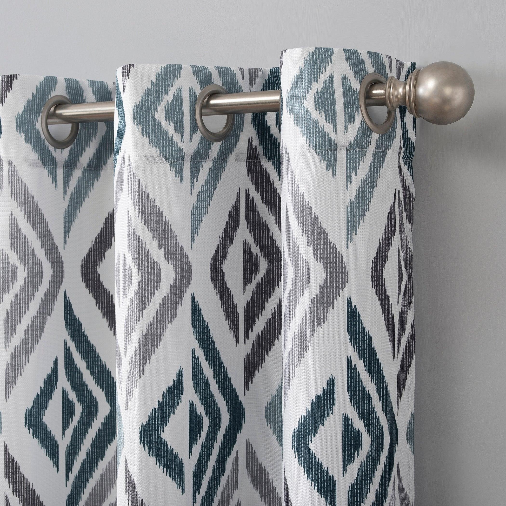 No 918 Hana Ikat Geometric Semi Sheer Grommet Curtain Panel Overstock 31268027