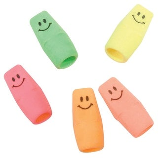 Moon Products Latex-Free Smiley Pencil Cap Eraser, Assorted Bright Neon, Pack of 144