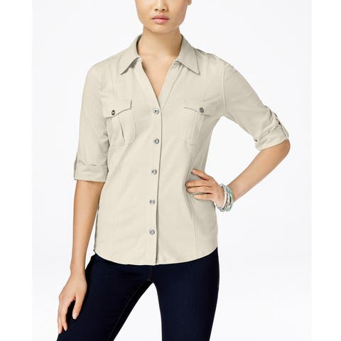 Style & Co Women's Utility Shirt Stonewall Size Small - Grey