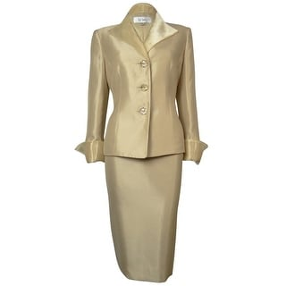 Le Suit Women's Woven Metallic Tafeta Tuscany Skirt Suit