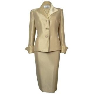 Le Suit Women's Woven Metallic Tafeta Tuscany Skirt Suit
