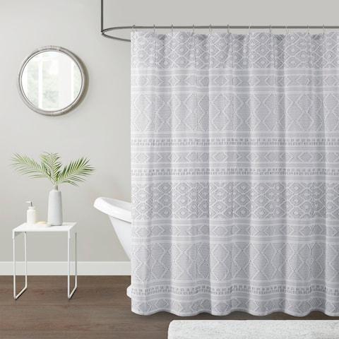Bailey Cotton Clip Jacquard Shower Curtain by Urban Habitat