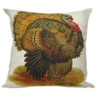 """Vintage Autumnal Turkey Antique Style Decorative Accent Throw Pillow with Insert 18"""" - Brown"""