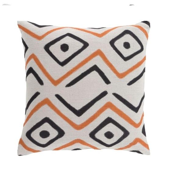 "22"" Tribal Rhythm Carnelian Orange, Cream and Polar White Woven Decorative Throw Pillow"