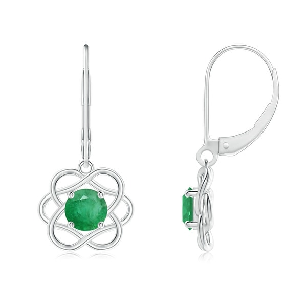 Angara Round Emerald Dangling Earrings in Platinum