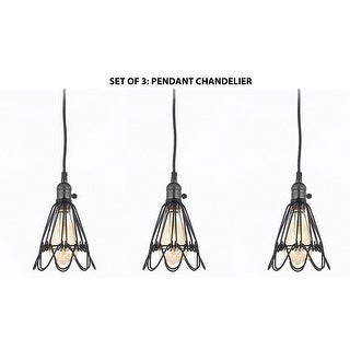 set of 3vintage barn metal pendant chandelier industrial rustic