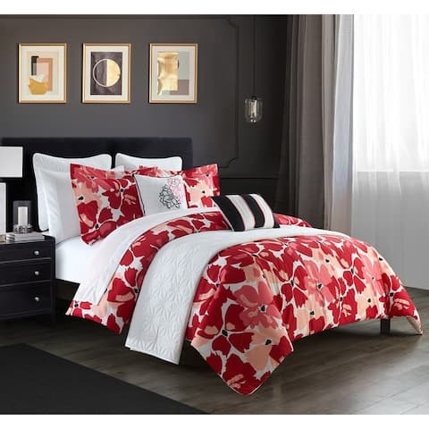 Chic Home Lia 12 Piece Comforter And Quilt Set Contemporary Floral Print Bed In A Bag